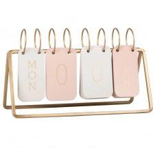 Calendrier perpetuel en métal taupe, rose et doré
