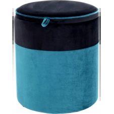 Pouf velours bleu et noir h40cm