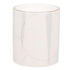 Bougie parfumée en céramique blanche à motifs dorés