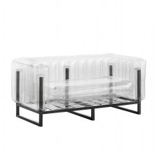 Canapé cadre aluminium assise thermoplastique transparent