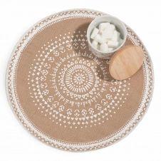 Set de table rond en jute imprimé blanc SOLANNA