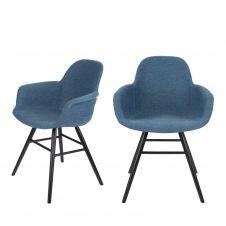 2 chaises avec accoudoirs en tissu bleu pétrole