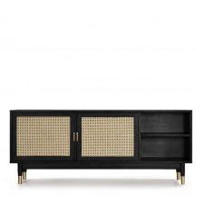 Meuble TV design 2 portes bois et cannage noir