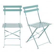 Chaises de jardin en métal bleu turquoise (x2) Guinguette
