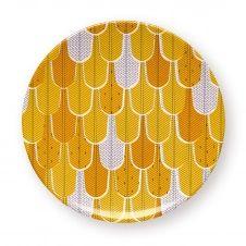Assiette de table géométrique jaune