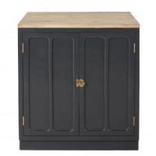 Meuble bas de cuisine 2 portes en manguier massif gris ardoise Cezanne
