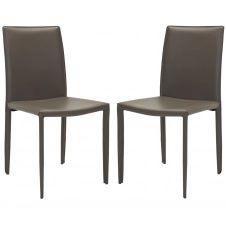 Chaise de table en métal et cuir gris charbon (x2)