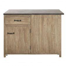 Meuble bas d'angle gauche de cuisine 1 porte 1 tiroir en pin recyclé grisé Greta