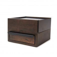 Petite boîte à bijoux en bois coloris noyer et métal noir