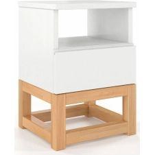 Table de chevet 1 niche 1 tiroir couleur blanc et bois clair