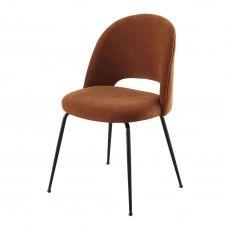 Chaise en velours de coton orange écureuil et métal noir