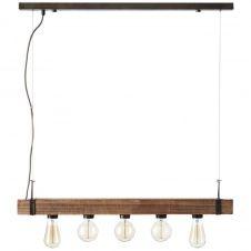 Suspension barre 5 lumières métal et bois L80cm
