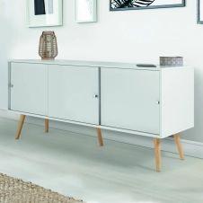 Buffet Effie scandinave 3 portes bois blanc