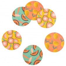 Dessous de verre motifs fruits multicolores (x6)