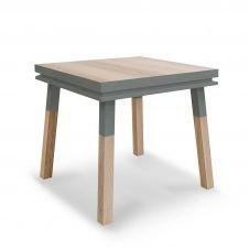 Bureau carré en bois massif avec tiroir bleu gris lehon
