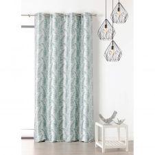 Rideau à oeillets aux motifs palmes polyester bleu 250×145