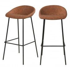 Chaise de bar 75 cm en PU camel (lot de 2)
