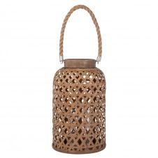 Lanterne en bambou et corde beige H36