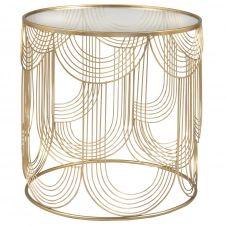 Bout de canapé en verre trempé et métal filaire doré