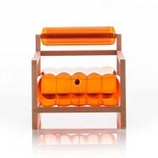Fauteuil orange cristal cadre bois