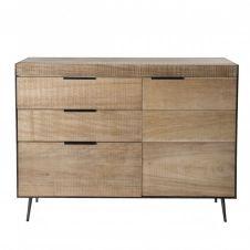 Buffet 3 tiroirs 1 porte bois sapin et pieds métal
