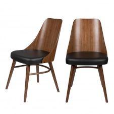 2 chaises en bois et simili bois foncé  et  noir