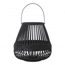 Lanterne en bambou tressé noir