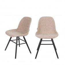 2 chaises en bois et tissu beige