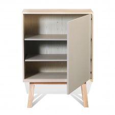 Armoire 1 porte en bois gris muscade
