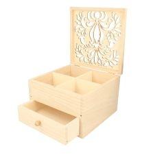 Boîte à bijoux bois à décorer 16x16x10cm