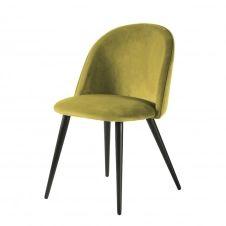 Chaise vintage en velours jaune et métal noir