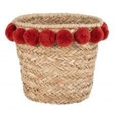 Panier en fibre végétale à pompons rouges
