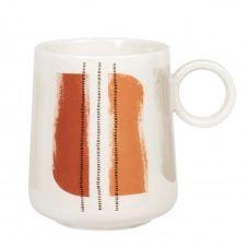 Mug en porcelaine blanche, rouge et noir motif abstrait