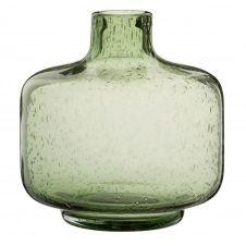 Vase en verre bullé teinté vert H17