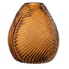 Vase feuille en verre strié teinté ambre H15