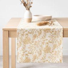 Chemin de table en coton bio imprimé floral 45×150