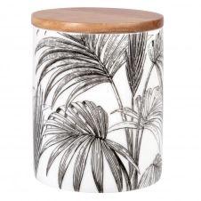 Pot en porcelaine blanche et noire imprimé palmes et couvercle en acacia H12