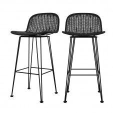 Chaise de bar 76 cm en résine tressée noire (lot de 2)