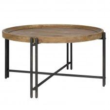 Table basse ronde en bois recyclé et métal