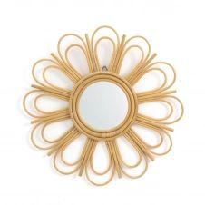 Miroir rotin forme marguerite Ø60 cm, Nogu