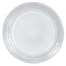 Assiette plate en grès gris motifs à rayures