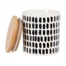 Bocal en faïence blanche et noire et couvercle motifs graphiques H8