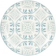 Assiette plate en grès blanc à motifs bleus et gris
