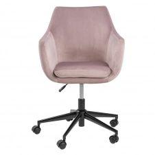 Chaise de bureau à roulettes en velours rose clair