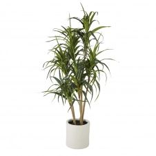 Plante artificielle dracaena verte et pot blanc H160