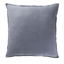 Coussin en lin lavé bleu 60×60
