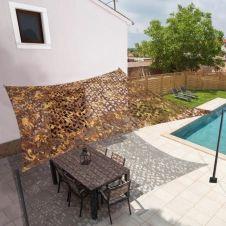 Voile d'ombrage rectangulaire design ombrière camouflage 4x6m treillis taupe