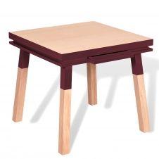 Bureau carré en bois massif avec tiroir rouge de pluduno