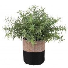 Succulente artificielle et pot en jute bicolore H18