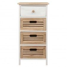 Petit meuble de rangement 4 tiroirs en paulownia